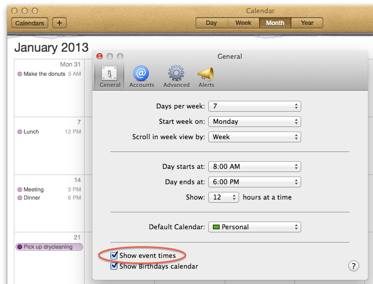 Add event times to Mac Calendar's month view