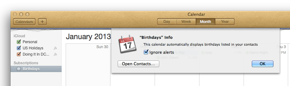 Disable calendar alerts