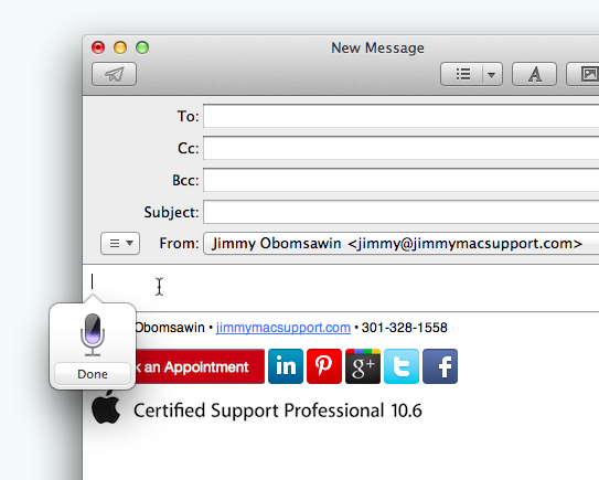 OS X Mountain Lion Dictation