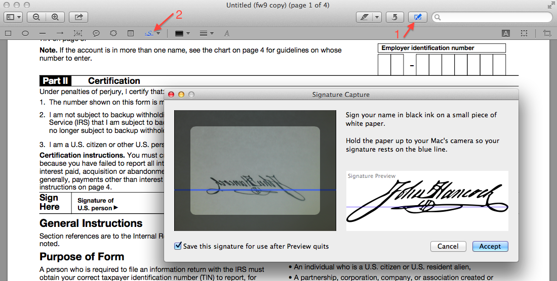 Insert signature in OS X Preview