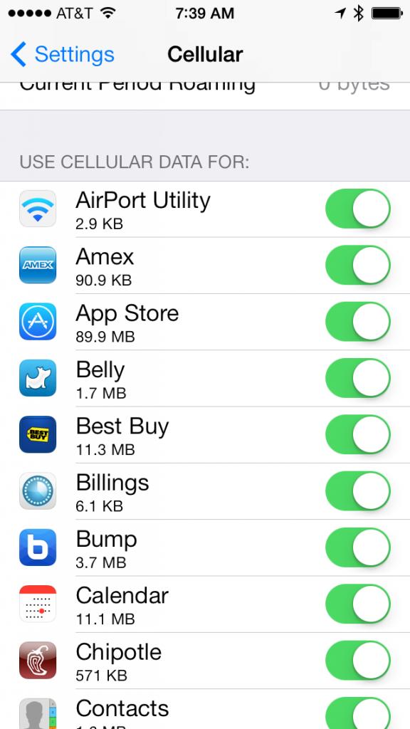 Per-app cellular usage