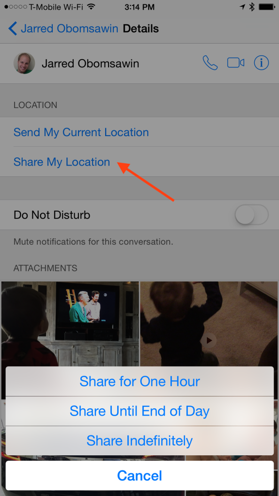 "To share your location from a person's Details page tap ""Share Location"" and then choose for how long you'd like to share."