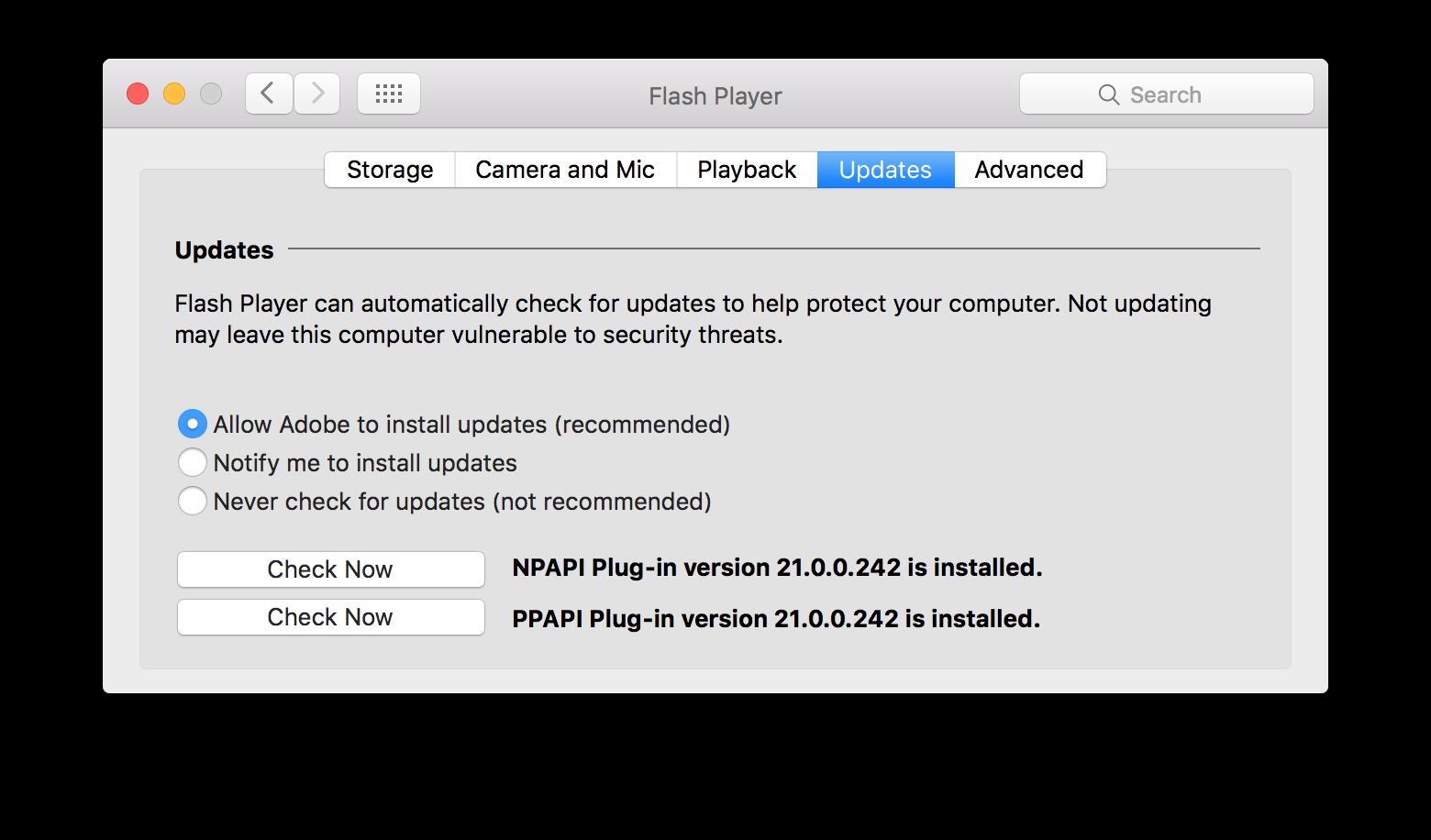 Flash Player System Preference pane