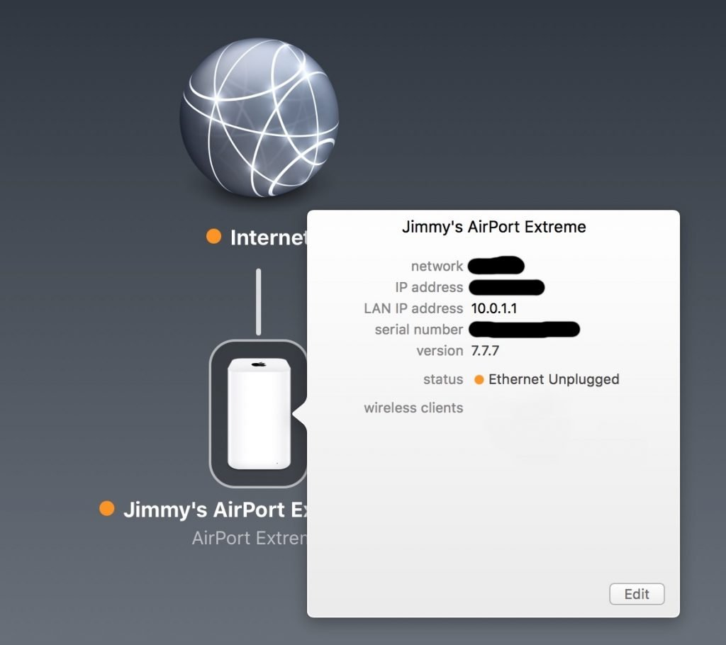 AirPort Utility showing that the WAN ethernet cable is unplugged